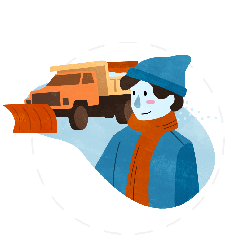 Illustration of smiling person in winter clothes and salt truck