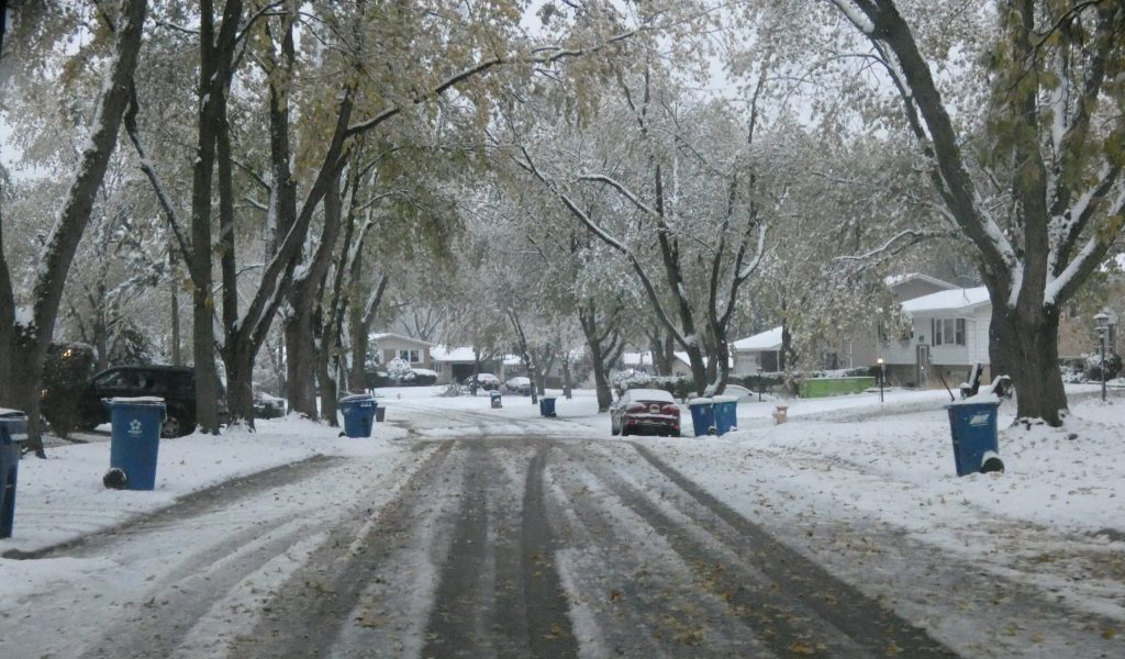 Residential street covered with snow